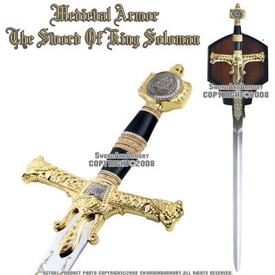 "47"" Medieval Israel King Solomon Crusader Knight Sword Gold Color Hand Guard"
