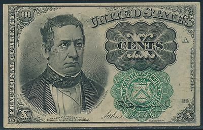 Fr1264 10¢ 5Th Issue Green Seal Fractional Currency Au+ Br3256
