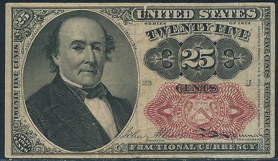 Fr1309 25¢ 5Th Issue Fractional Currency W/ Short Thick Key Vf-Xf Br3262