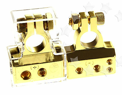 2/4/8AWG Gold Plated Car Audio Battery Terminals Positive & Negative