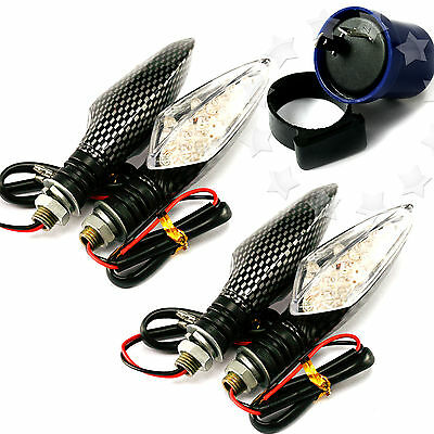 4x 12V 16LED MOTORCYCLE MOTORBIKE TURN SIGNAL INDICATOR LIGHTS WITH FLASH RELAY