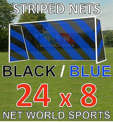Striped Soccer Nets BLACK/BLUE [Pair - 2xNets] 24 x 8 Goal Posts Nets NetWorld