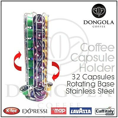 Rotating 32 Capsule Coffee Pod Holder Stand Stainless Steel suit Lavazza