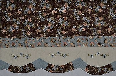 Window Valance~Quilted Flower~Embroidery~Brown~Blue~Ivory~JC Penney~Curtain~NEW