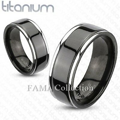 FAMA Solid Titanium 2-Tone Black IP Center Grooved Band Ring Size 9-13