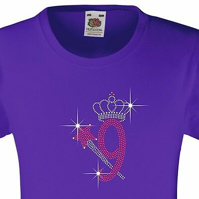 Diamanté Embellished with Rhinestones Number 9 Birthday T Shirt for Girls