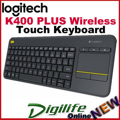 Logitech K400 Plus Wireless Touch Keyboard TouchPad Unifying USB for PC Smart TV