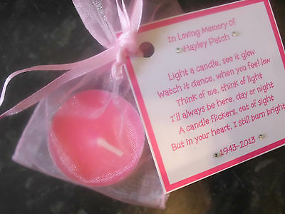Personalised scented candle favor memorial funeral keepsake - remember loved one