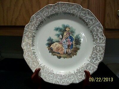 VINTAGE China from Sabin Luncheon Plate People Center with Gold Filigree Rim