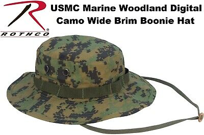 Woodland Digital Camouflage USMC Military Tactical Wide Bucket Boonie Hat 5827