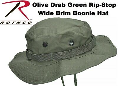 Olive Drab Green Military Tactical Rip-Stop Wide Brim Bucket Boonie Hat 5823