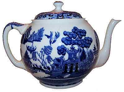 Antique Vintage Blue Willow Covered Teapot - Oriental Style - Blue Willow