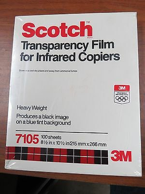 Scotch 3M 7105 Transparency Film Infrared copiers Letter Size, 100/Box    C229