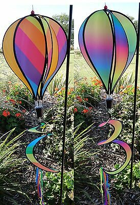 Rainbow Hot Air Balloon Wind Spinner Multi-Colored Striped or Blended Windsock