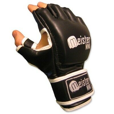 Meister Black 4Oz Cage Mma Gloves - Authentic Leather Ufc Open Palm Fight Legal
