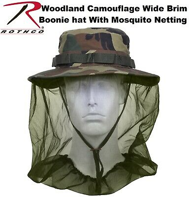 e08f559ddffed Camouflage Military Wide Brim Boonie Hat W Mosquito Netting Bush Bucket Hat  5833