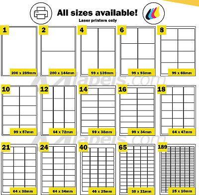Waterproof A4 Polyester White Self Adhesive Laser Printer Labels. Blank Poly