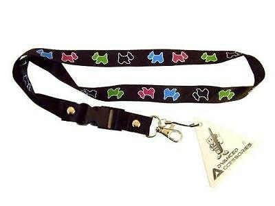 Mobile Phone/identity Card Lanyard Neck Strap Black With Dog Motif