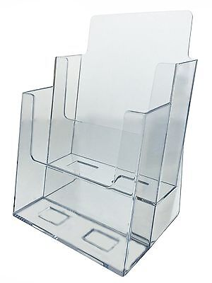 "2 Tier Brochure Holder for 6""w Literature Pamphlet Display Stand Clear Acrylic"