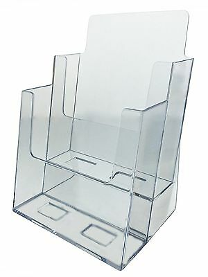 "Clear Acrylic 2 Tier Brochure Holder for 6""w Literature Pamphlet Display Stand"
