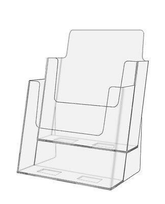 """Lot Of 24 Clear Acrylic 2-Tier Brochure Holder for 6""""w Literature"""