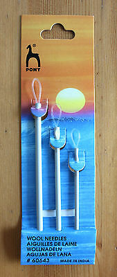 Pony Aluminium Wool Needles With Loop Pack Of 3 In Varying Sizes By Pony 60643