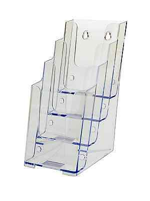 "Clear Acrylic 4 Pocket, Tiered 4""W Brochure Holder, Wall or Counter (Lot of 6)"