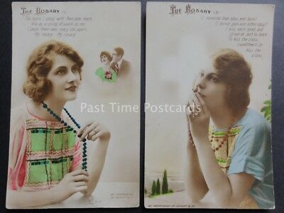 Bamforth & Co Song Cards THE ROSARY No.1 & 3 Part Set Old Postcard