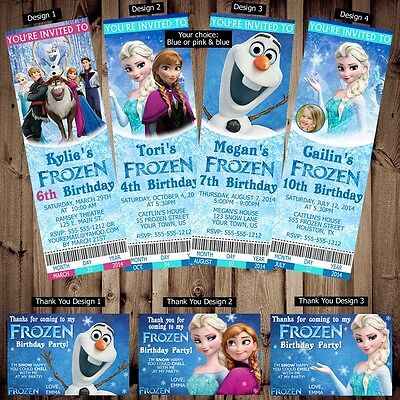 Printed Personalized Disney Frozen Birthday Ticket Invitations Thank You