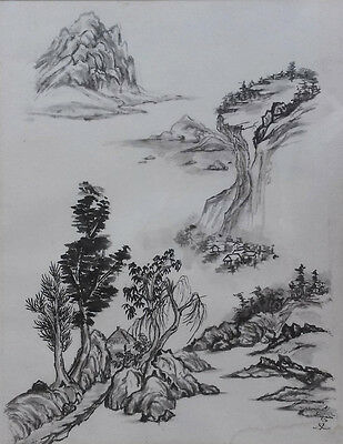 Vintage Japanese Watercolor Landscape Painting on Woven Paper, Signed