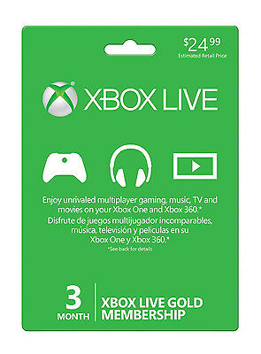 NEW Xbox LIVE 3 Month Gold Membership Card Subscription PHYSICAL CARD, NOT TRIAL