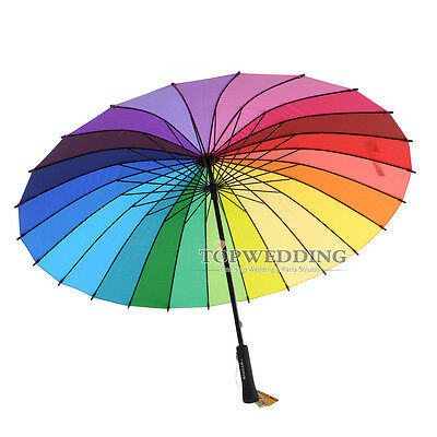 Multicolour Womens Lady's Rainbow Pagoda Umbrella Parasol For Wedding Party