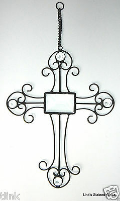 Stained Glass Wire Cross with Glass Jewels and Bevel Glass Center