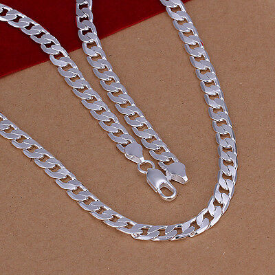 Cool 925Sterling Silver 6MM Flat Sideway Men Chains/Necklace 18-24inch N047