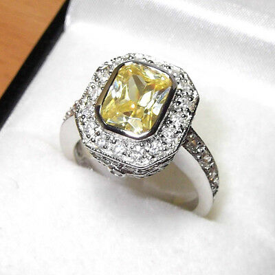 Rhodium Plated 925 Hallmarked Silver Emerald Cut Lemon Citrine Halo Ring
