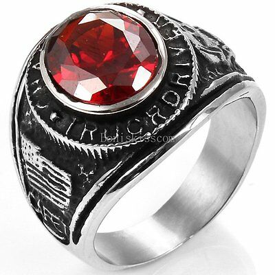 Vantage Black Silver Tone Stainless Steel Wide Cast Class Ring w Red CZ Stone