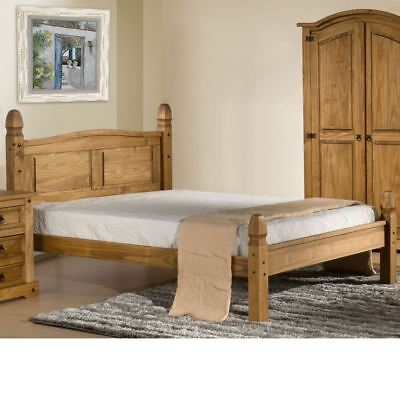 Corona Pine Light Wood Tone Low Foot End Bed with 4 Mattress and 4 Size Options