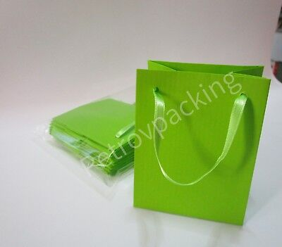 Extra Small Lime Green Paper Gift Bags Pk Of 10 Handmade