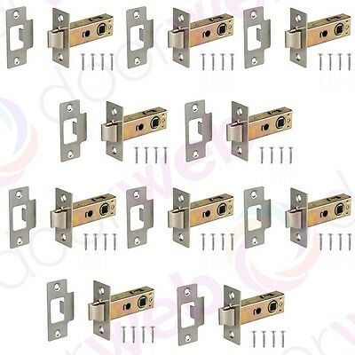 10 x MORTICE TUBULAR LATCH Internal Interior Door Catch Pol/Satin Chrome Brass