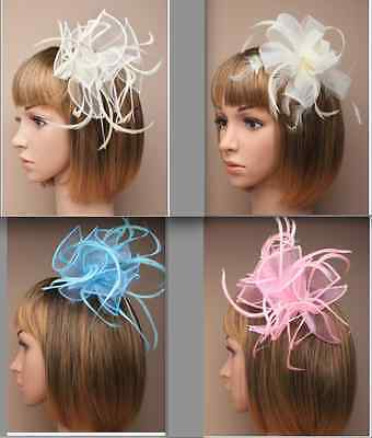 ladies Stunning Net & Feather Fascinator on Clear Comb Wedding Baptism Races