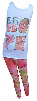 Girls Vest & Flower Legging Set/Outfit 'Hope' Motive Ages 4 Years - 13 Years