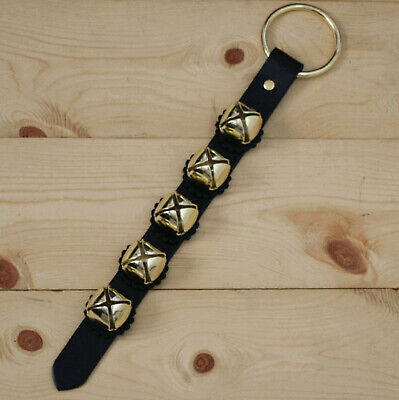 Arctic Sleigh Bell Leather Strap Hanging Door Chimes / Handmade in USA_BK/GD