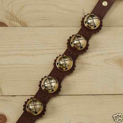 Solid Brass Classic Sleigh Bell Brown Leather Strap Hanger Door Chimes