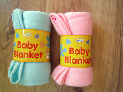 A-Z BABY BOYS GIRLS WRAP COMFORT PRAM/STROLLER FLEECE BLANKET BLUE,PINK,75x75 cm