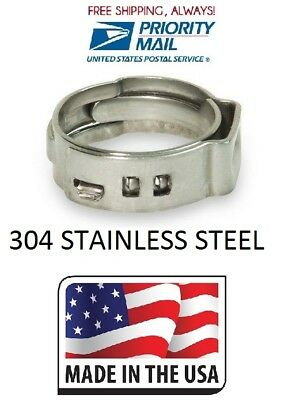 "100 PC (50 PC 1/2"") (50 PC 3/4"") PEX All Stainless Steel Pinch Clamps Rings USA"
