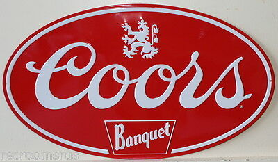 COORS banquet beer logo heavy embossed metal sign oval rolled edges coors
