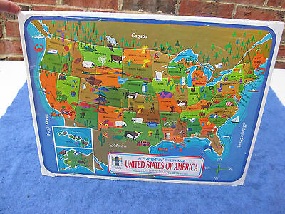 Vtg Frame Tray Puzzle United States Of America Map By Rainbow Works New & Sealed
