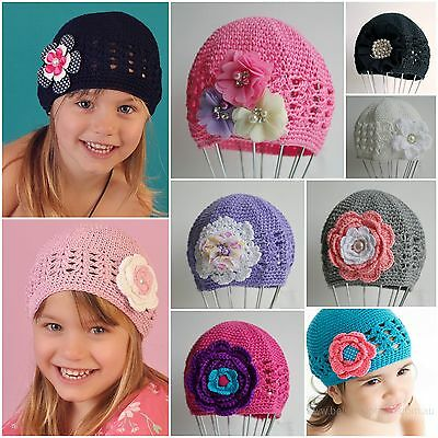Baby Beanie Hat Cap Toddler 1-2 Year Crochet Kufi Flower Bow Vintage Winter Girl