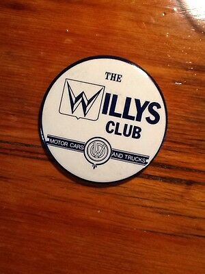 old The Willys Club Motor Cars and Trucks button Jeep