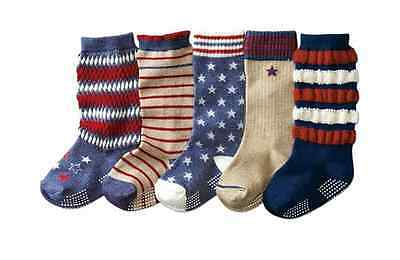 BULK... 5 pairs Baby Boys Knee High Assorted Socks w/ Gripper ** fits 1-4 years